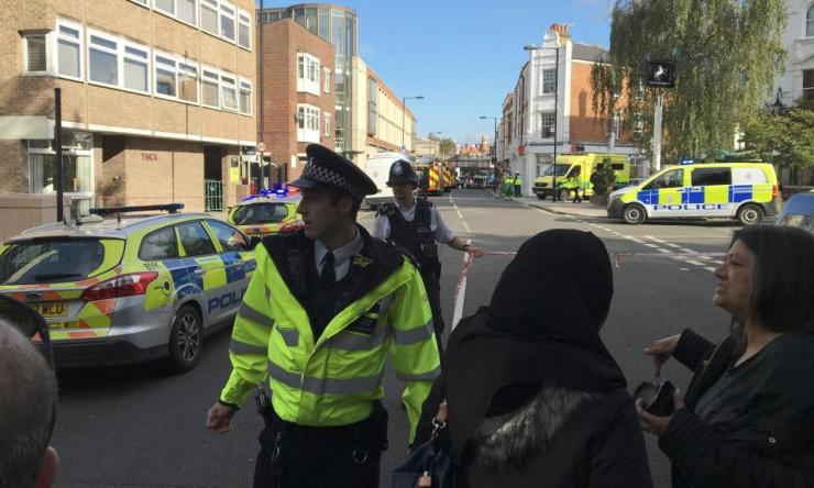 Police cordon off an area near Parsons Green station in London