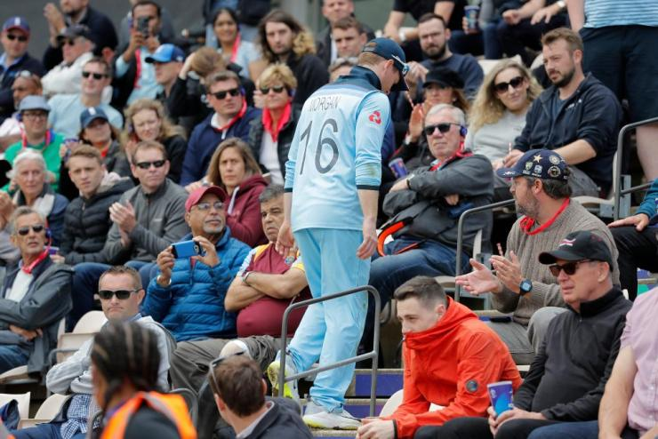 England captain Eoin Morgan trudges back to the dressing room after suffering an injury.