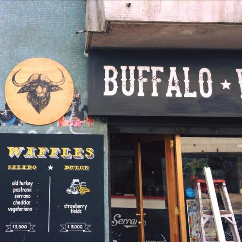 Street side view of the front of Buffalo Waffles, Santiago, Chile.