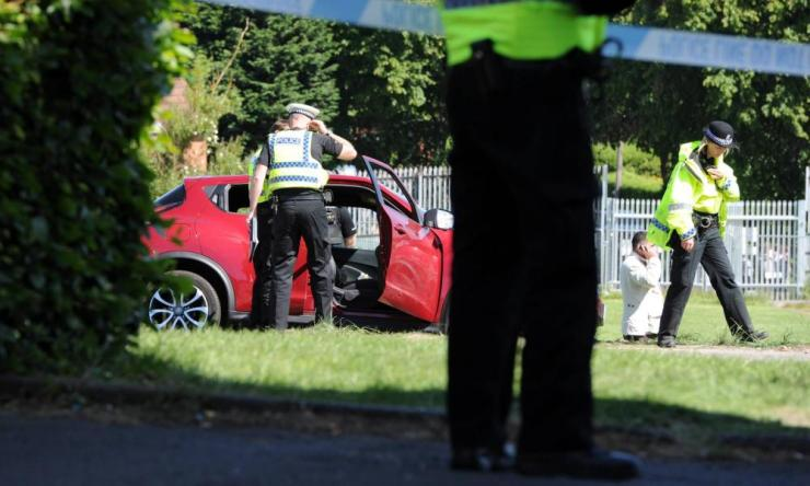 Police in Newcastle after a vehicle crashed into pedestrians outside Westgate sports centre.