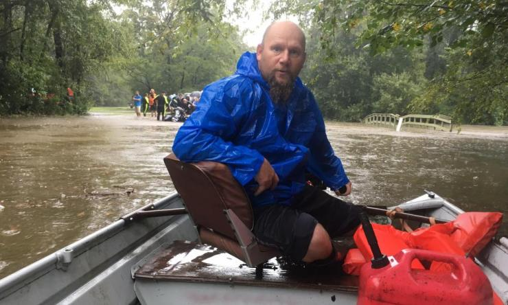 John Brown on his way to pick up evacuees in Woodlands.