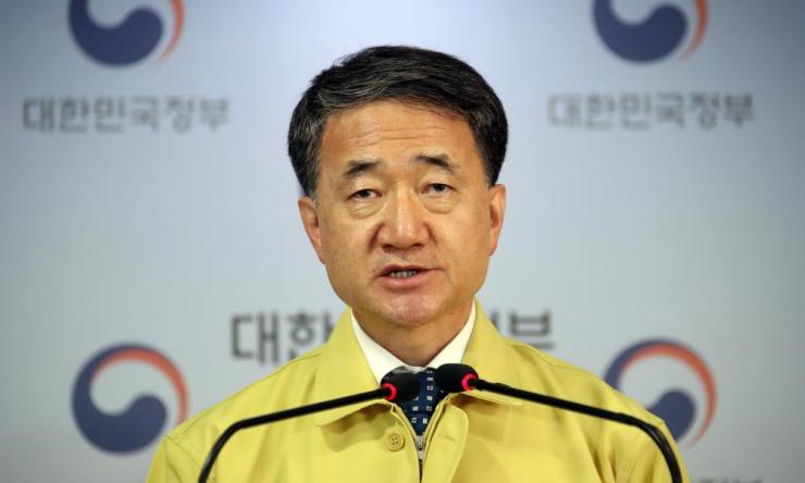 South Korea's Health Minister Park Neung-hoo speaks at a press briefing on the country's novel coronavirus situation at the government complex in Seoul. Credit: EPA/YONHAP SOUTH KOREA OUT