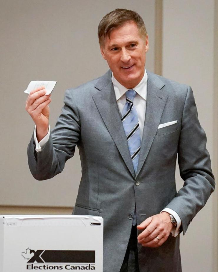 People's Party of Canada (PPC) leader Maxime Bernier casts his ballot in Beauce, Quebec.