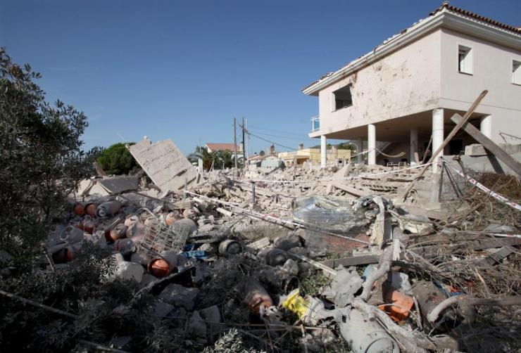 The remains of a house in Alcanar, where one person died in an explosion police say was linked to the attack on Barcelona.