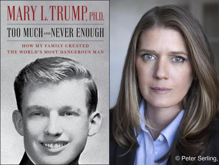 "This combination photo shows the cover art for ""Too Much and Never Enough: How My Family Created the World's Most Dangerous Man"", left, and a portrait of author Mary L. Trump, Ph.D."