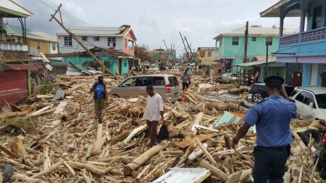 Damage caused by Hurricane Maria in Roseau, Dominica, in late September.