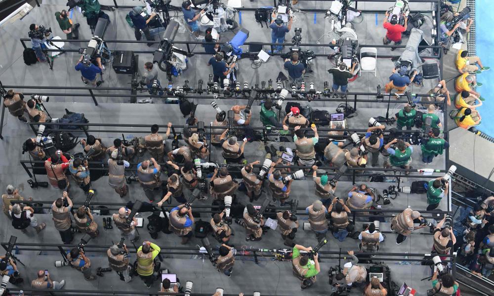 Fotógrafos en el estadio Olímpico de Río de Janeiro
