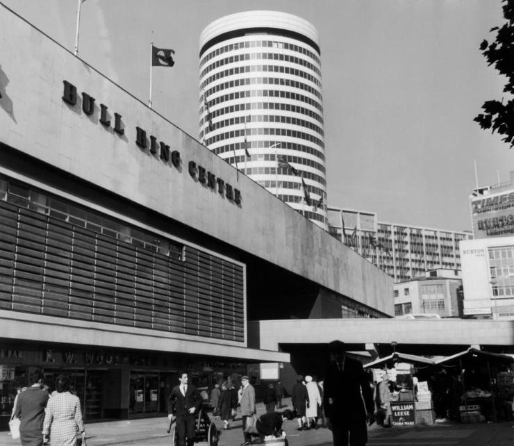 The Bull Ring Centre in Birmingham, circa 1965. Built in 1964, it was demolished in 2001.