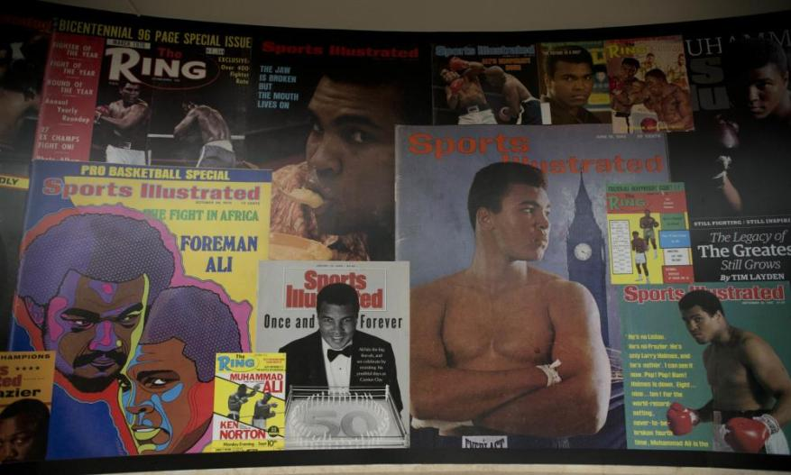 Posters at the I Am The Greatest, Muhammad Ali exhibition at the O2 arena.