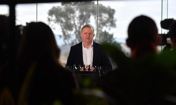Leader of the opposition Anthony Albanese at a press conference at the Kangaroo Rugby League Football Club in Queanbeyan, Saturday, 13 June.