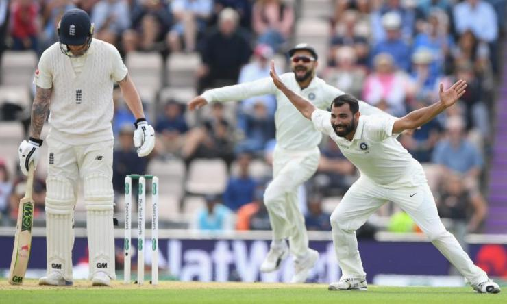England batsman Ben Stokes is lbw to Mohammed Shami after review.
