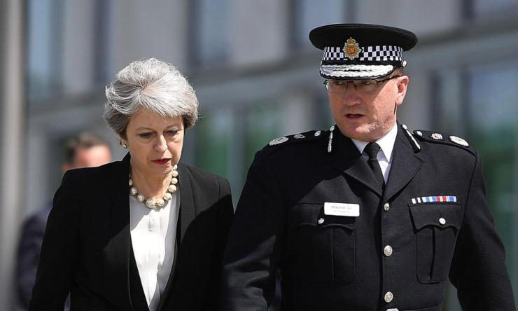 Theresa May with the Greater Manchester police chief constable Ian Hopkins.