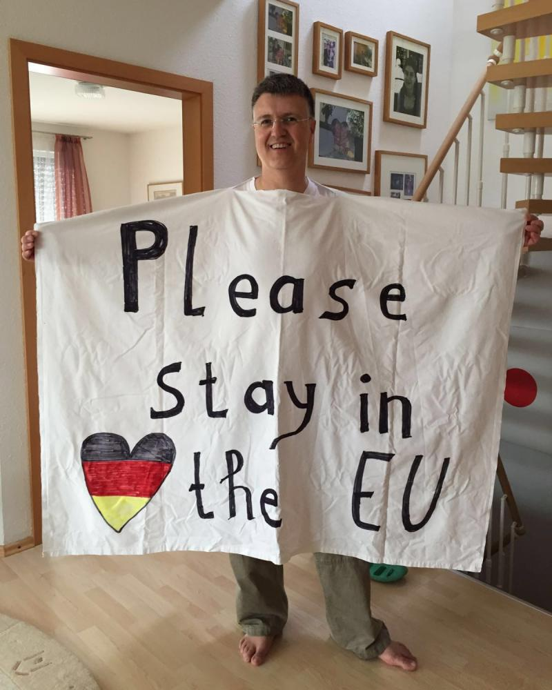 Thomas Bauer-Balci with his visual plea for a remain vote.
