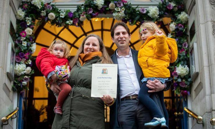 On the last day of the decade a new legal relationship comes into being - mixed sex civil partnerships. Five years after first trying to give notice for a mixed-sex civil partnership, Rebecca Steinfeld and Charles Keidan finally register their relationship at Kensington and Chelsea Register Office. London