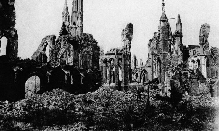 An undated file photo of the cathedral in the town square of Ypres, Belgium, in ruins after bombing in World War One.