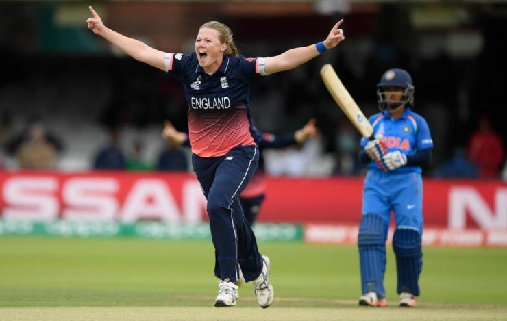 Shrubsole celebrates after bowling Mandhana for a duck.