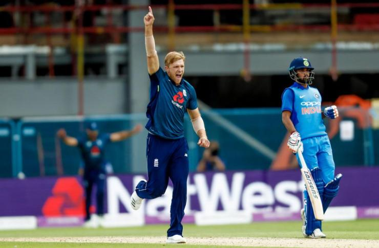 Willey celebrates the wicket of Dhoni for 43.