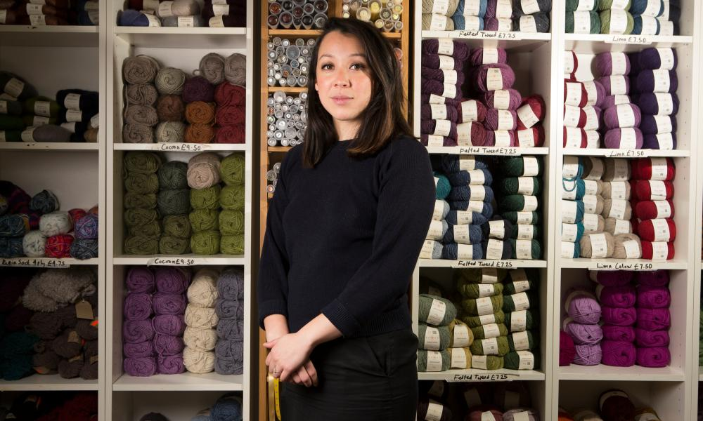 Louise Dungate photographed at her shop The Knit Club in Caversham, Surrey.