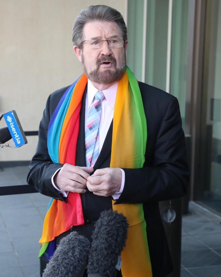 Senator Derryn Hinch arrives at the Senate doors on Monday morning.