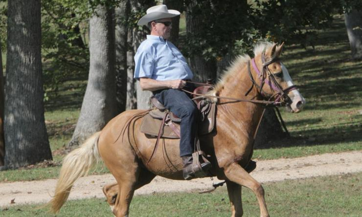 Challenger Roy Moore on way to vote.