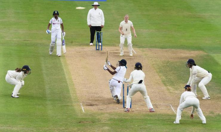 India's Pooja Vastrakar bowled out by England's Heather Knight.