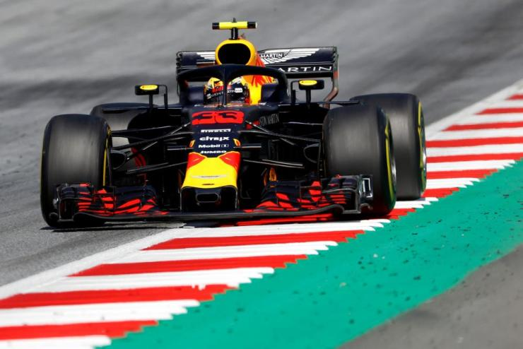 Verstappen, out front for now.