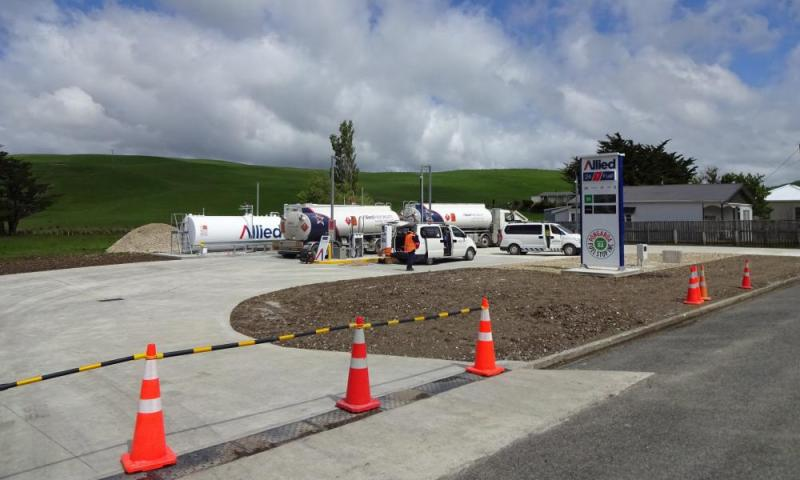 The Pongoroa petrol station while it was under construction.