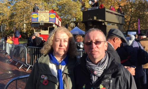 Jackie Sheridan is marching with her husband, Steven, for her great-great-uncle Oliver Davies who was killed in Palestine by a stray bullet while taking the horses to water.