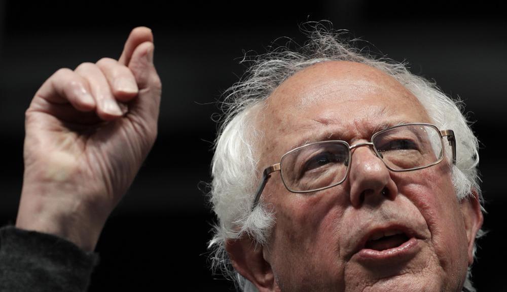 Bernie Sanders speaks during a campaign rally in Louisville.