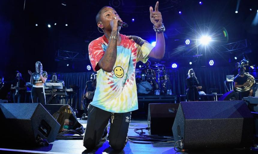 Pharrell performs with The Roots at A Concert for Charlottesville on 24 September 2017 in Charlottesville, Virginia.