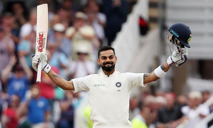 Kohli celebrates his 23rd test century.