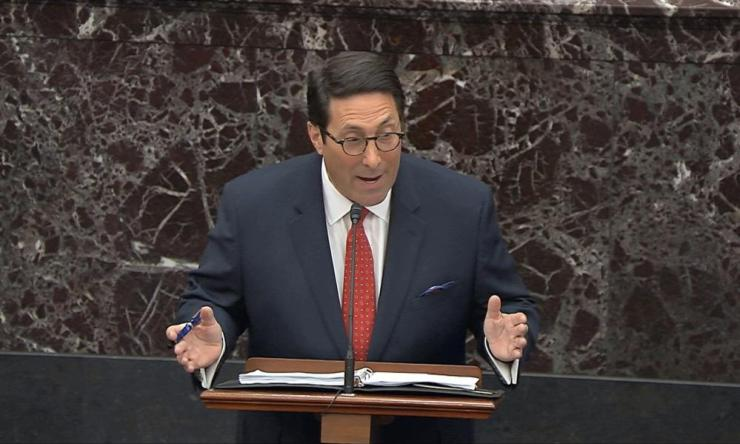 Donald Trump's personal attorney Jay Sekulow speaks during the trial.