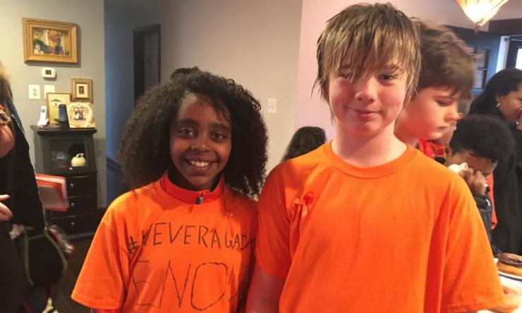 Naomi Wadler (left) and Carter Anderson (right) both 11, both fifth graders at George Mason Elementary School in Alexandria, Virginia