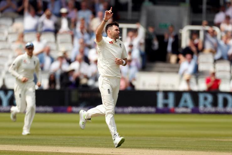 James Anderson celebrates after taking the wicket of Azhar Ali.