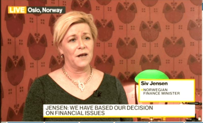 Norway's finance minister Siv Jensen