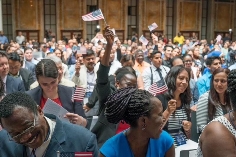 Attendees celebrate during the ceremony in New York.
