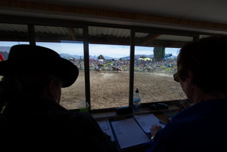 View from the judge's box at Wanaka rodeo.