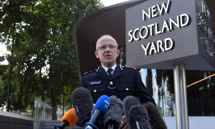 Metropolitan Police Assistant Commissioner Mark Rowley speaks to the media outside New Scotland Yard