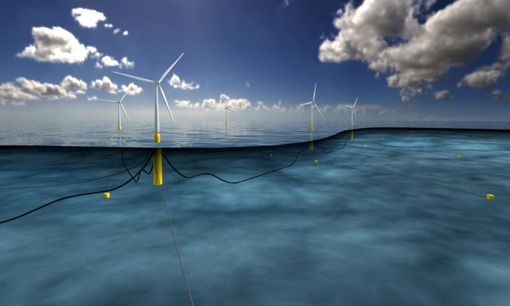 An artist's impression of the world's largest floating windfarm, planned off the coast of Scotland.