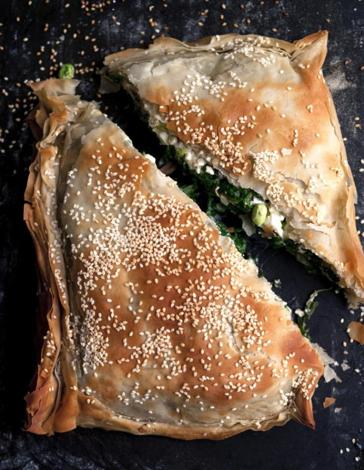 Broad bean, feta and spinach pie, by Nigel Slater.