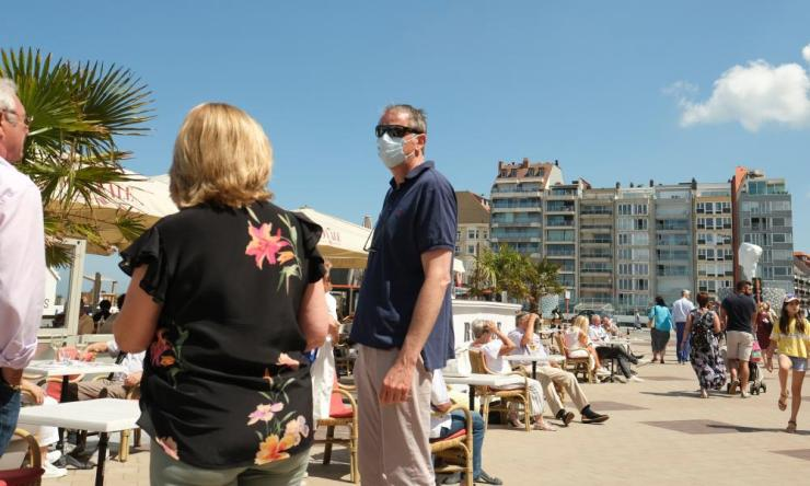 Visitors at the North Sea coastal resort city of Knokke-Heist, Belgium, on 13 June 2020, during the country's first weekend since the easing of coronavirus restrictions has entered the third phase.
