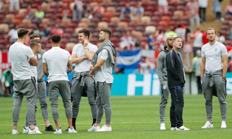 The England players check out the stadium and soak up the atmosphere at the Luzhniki Stadium during England's pitch inspection.