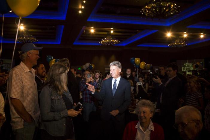 Libertarian presidential candidate Gary Johnson greets supporters at his election night party.
