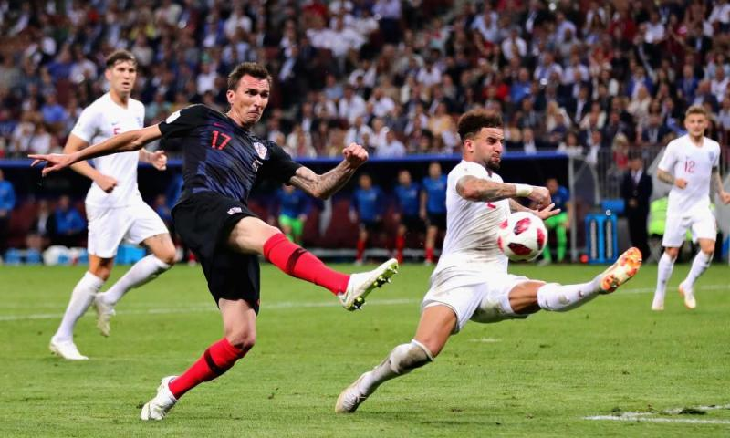 Mario Mandzukic of Croatia takes a shot as Kyle Walker of England attempts to block.