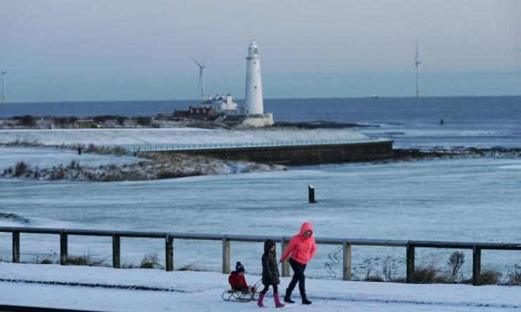 Snow on the coast at Whitley Bay, Tyne and Wear.