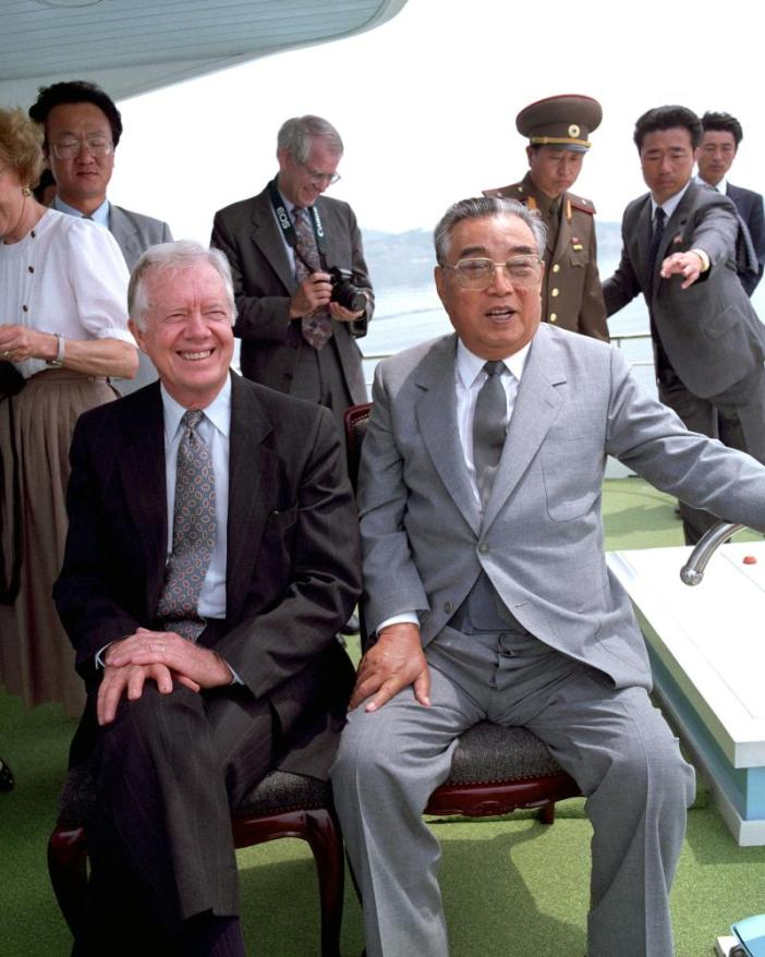 North Korean leader Kim Il-sung with former US president Jimmy Carter in June 1994, just weeks before Kim''s death