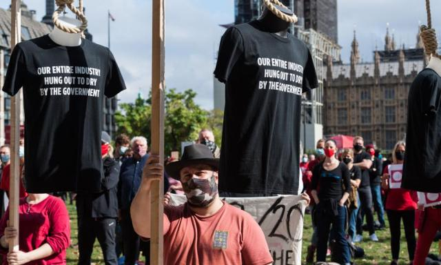 Event industry members in Parliament Square today taking part in a demonstration to highlight the plight of their industry due to the Covid crisis.