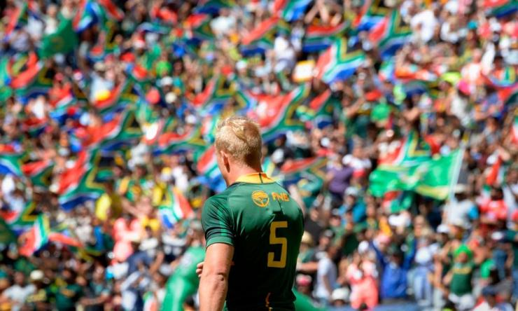 A photo from 2019 showing South Africa's JC Pretorius after scoring a try
