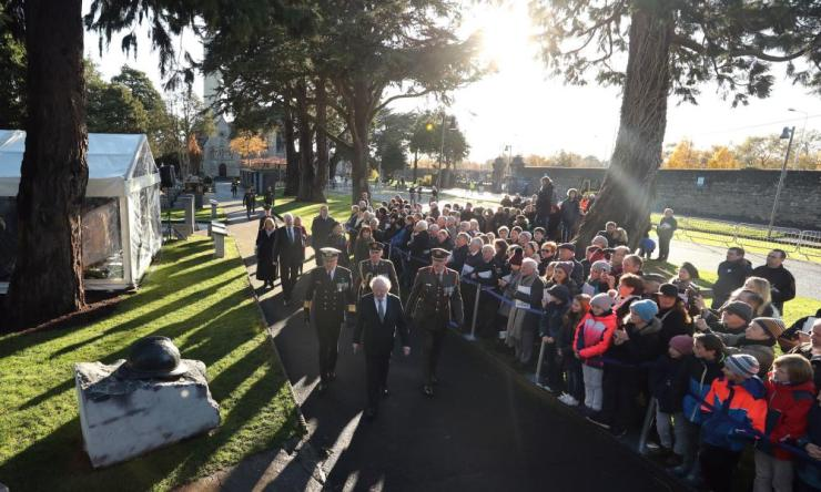 President elect Michael D Higgins attends an Irish state ceremony at Glasnevin cemetery in Dublin