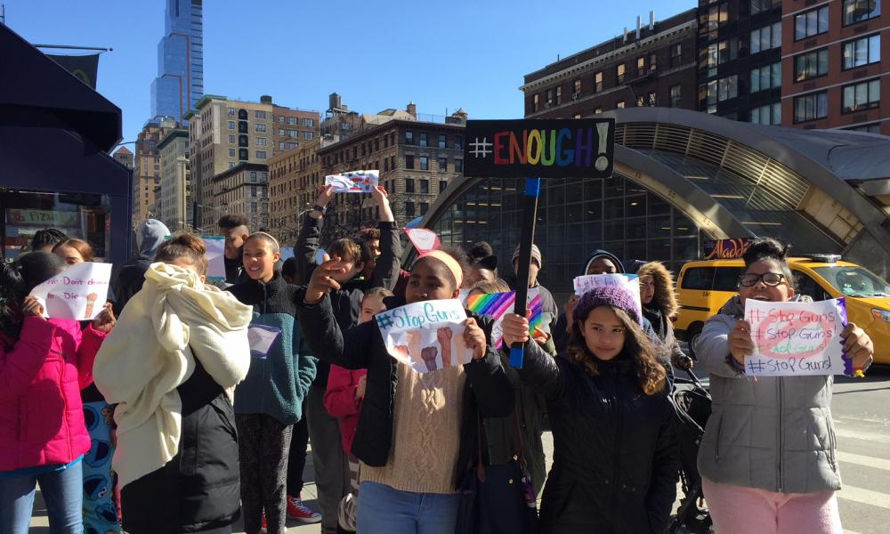 Students in New York City protest gun violence at West Side Collaborative Middle School